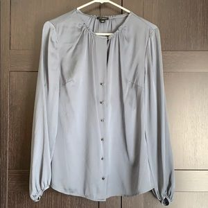 ANN TAYLOR SIZE S BLUISH GREY LONG SLEEVE BLOUSE